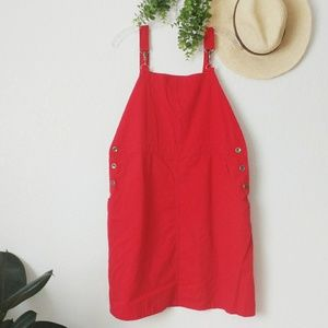 90s Vintage Red Jean Bib Overall Mini Dress Large